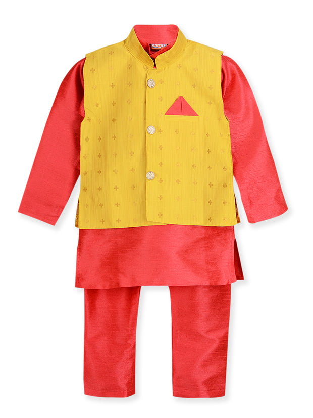 pink and Yellow KURTA PAJAMA WITH NITARA JACKET