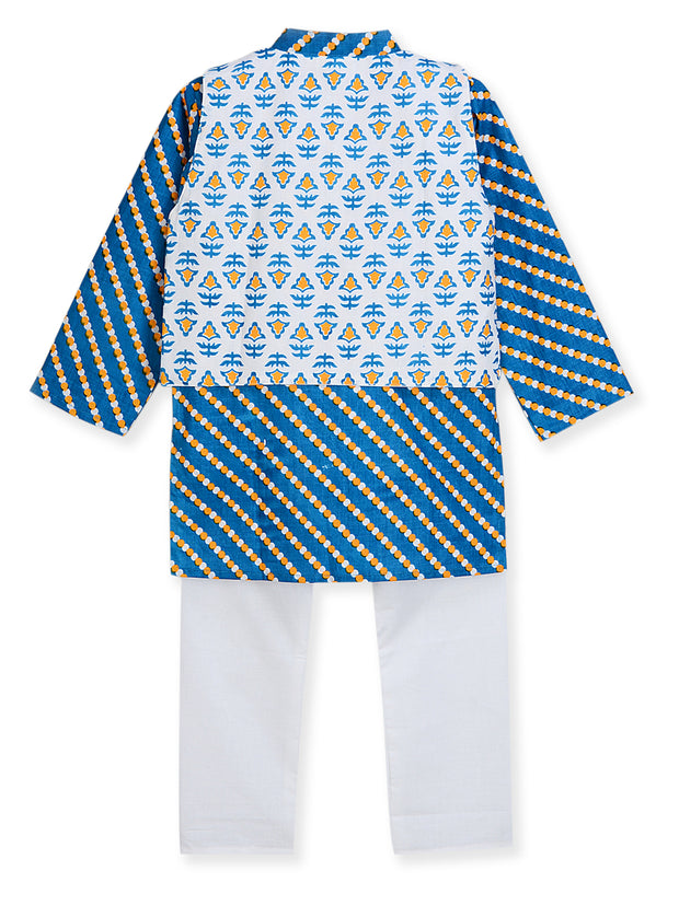White and Blue PRINTED KURTA PAJAMA WITH JACKET