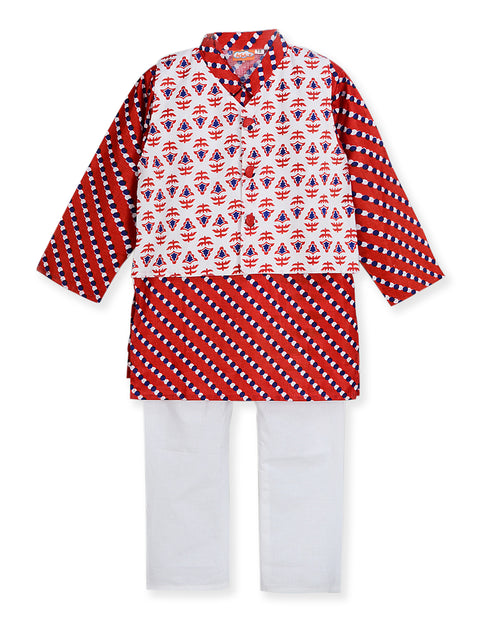White and Red PRINTED KURTA PAJAMA WITH JACKET