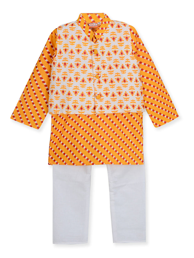 White and yellow PRINTED KURTA PAJAMA WITH JACKET