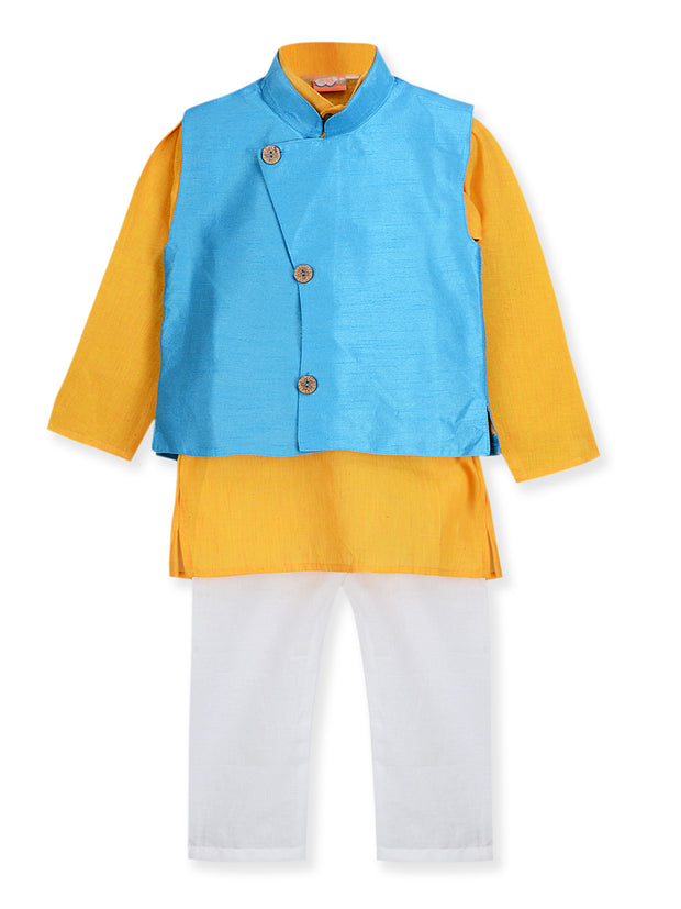 Yellow and White KURTA PAJAMA WITH FLOWER BUTTON JACKET