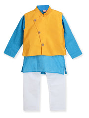 Blue and yellow KURTA PAJAMA WITH FLOWER BUTTON JACKET