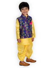 Blue and yellow KURTA DHOTI WITH FLORAL JACKET