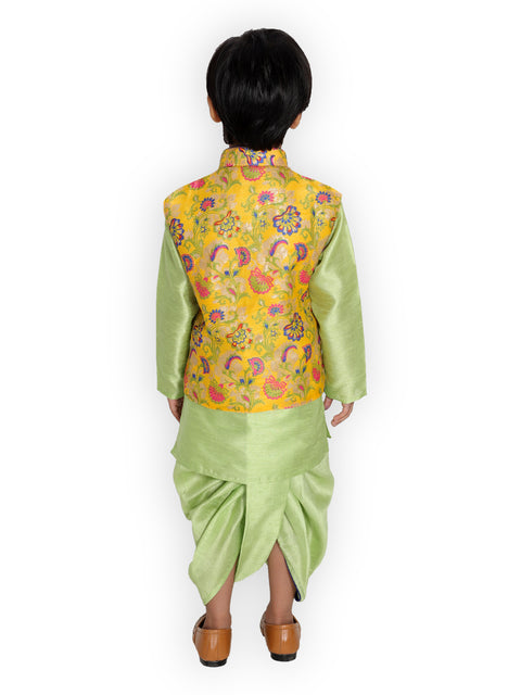 YELLOW KURTA DHOTI WITH FLORAL JACKET FOR BOYS