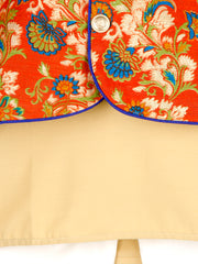 Gold and white KURTA PAJAMA WITH Orange FLORAL JACKET