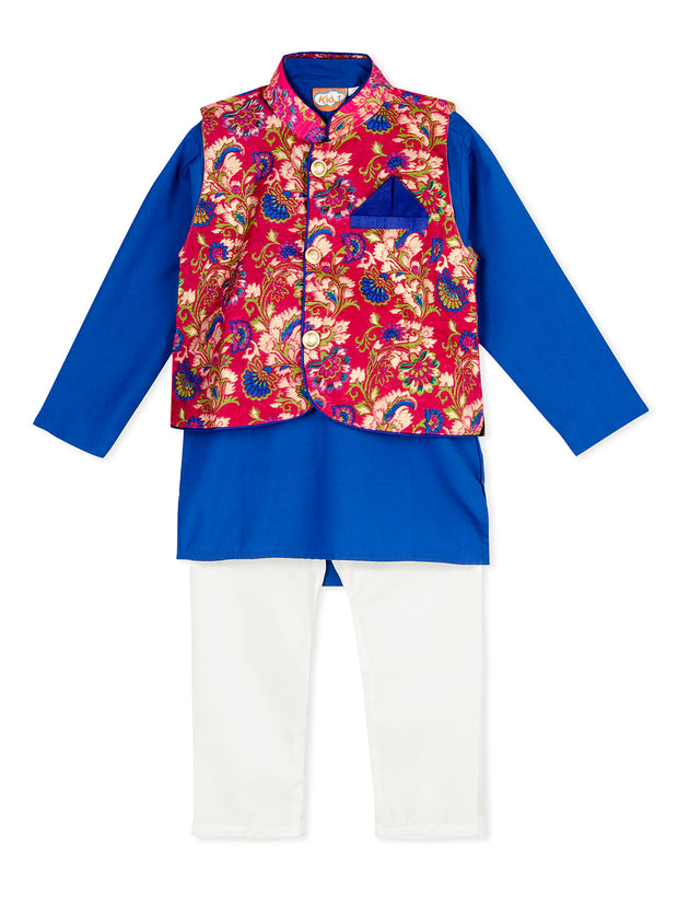 Blue and white KURTA PAJAMA WITH Pink FLORAL JACKET