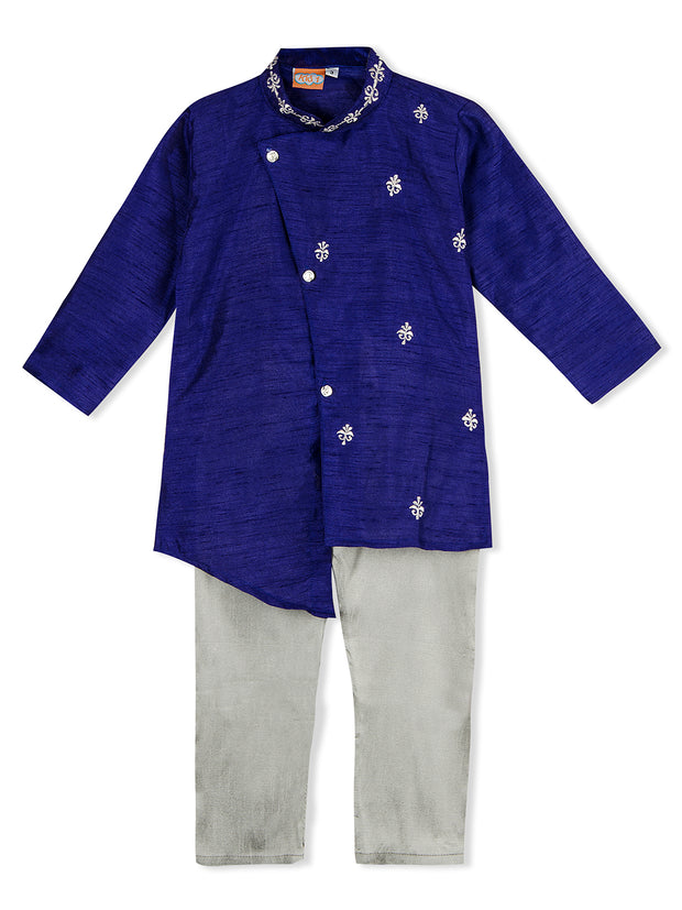 Blue and white MOTTIF DESIGN CROSS CUT KURTA PAJAMA