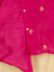 Pink and white MOTTIF DESIGN CROSS CUT KURTA PAJAMA