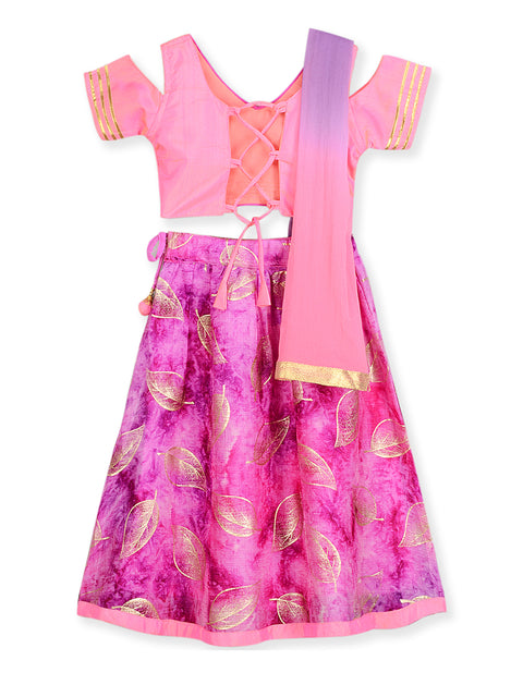 FUSCHIA PINK & PURPLE COLD SHOULDER PRINCESS LEHENGA CHOLI