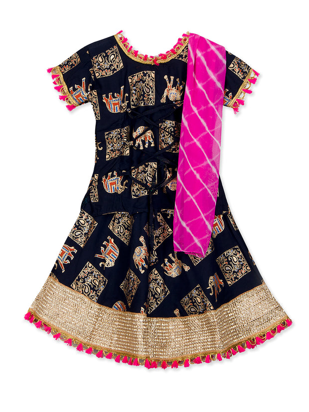 Black & Purple Camel Print Lehenga Choli