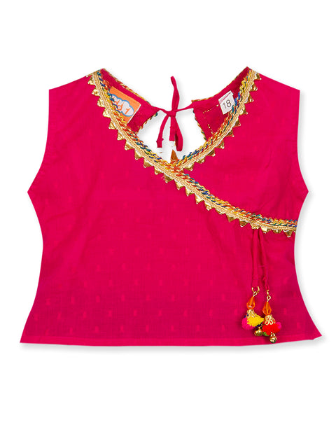 PINK AND BLUE ANGHRAKHA STYLE SHORT TOP WITH PALAZZO