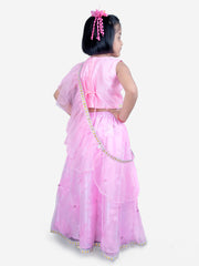 Pink FLOWER LEHNGA CHOLI WITH CROSS DUPPATTA