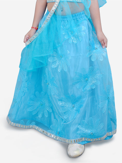 Turquise FLOWER LEHNGA CHOLI WITH CROSS DUPPATTA