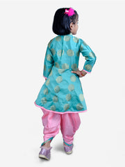 Green DIVYA HI LOW PEPLUM FULL SLEEVES TOP WITH DHOTI
