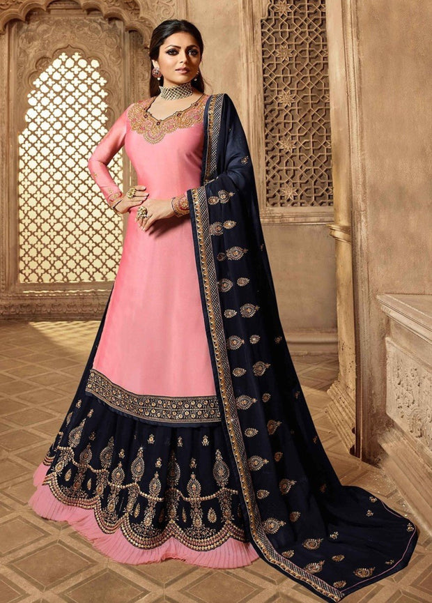 PARTY WEAR DESIGNER EMBROIDERY LIGHT PINK SATIN SALWAR SUIT