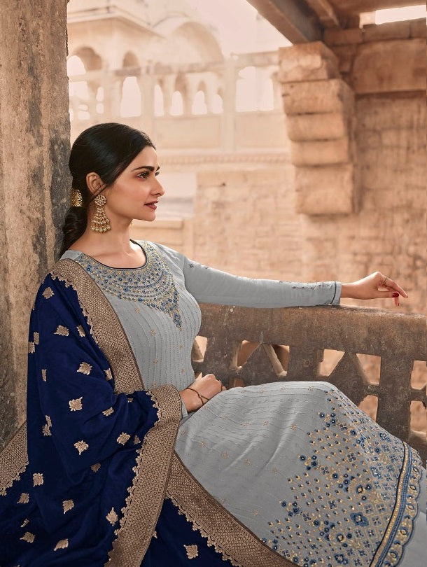 Gray Embroidery Salwar Suit
