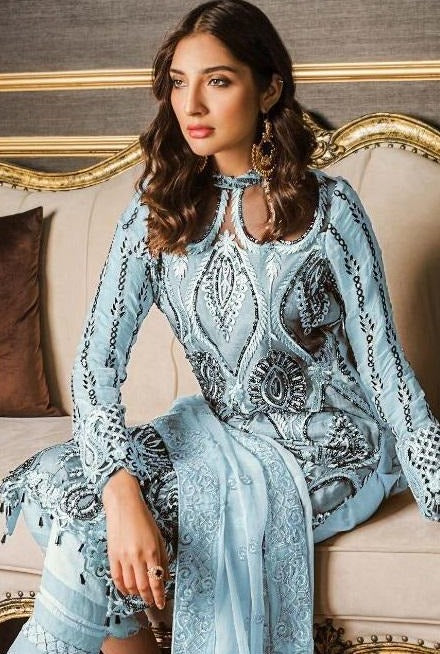 Ice Blue Partywear Straight Pant Suit