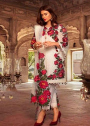 White And Red Floral Straight Pant Suit