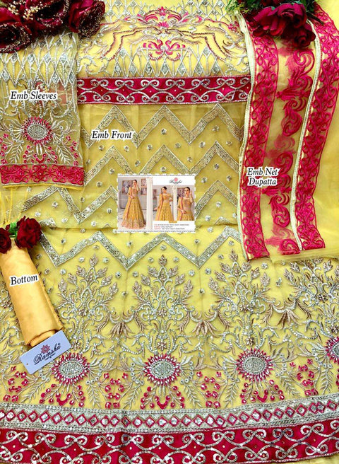 Yellow Butter Fly Net Salwar Kameez Lehenga