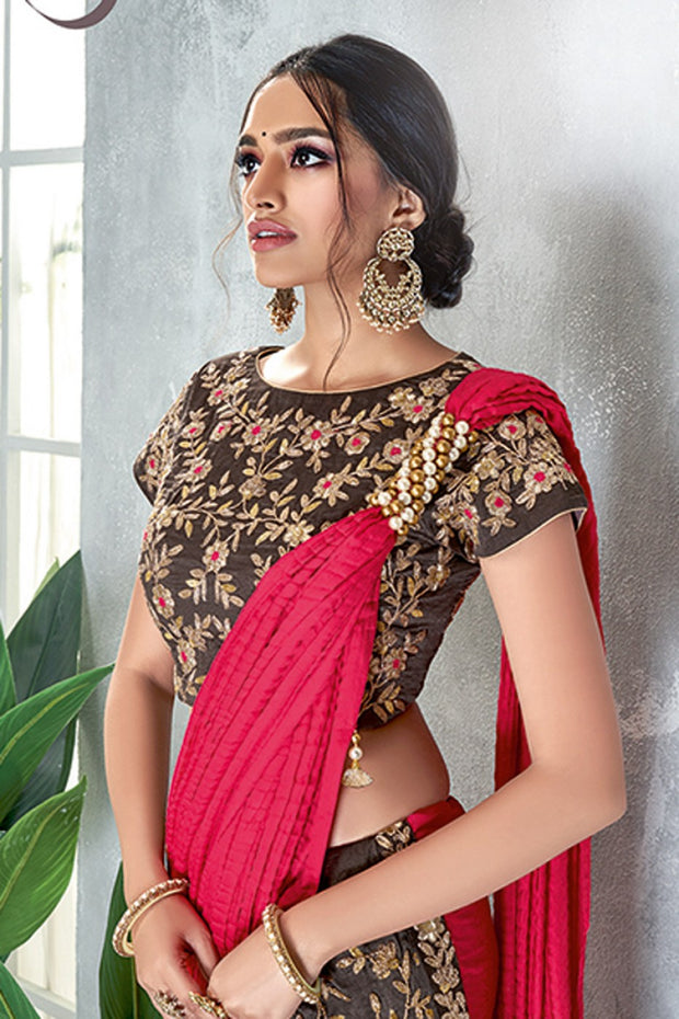 gray and red crush silk lehenga style saree