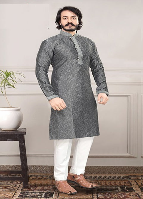 GRAY SILK KURTA