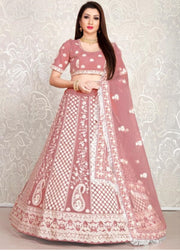 Peach Embroidered Lehenga Choli With Fringed Dupatta