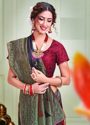 Maroon purple mehndi silk saree