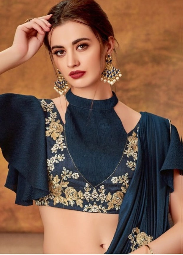 Grey blue silk Georgette lehenga