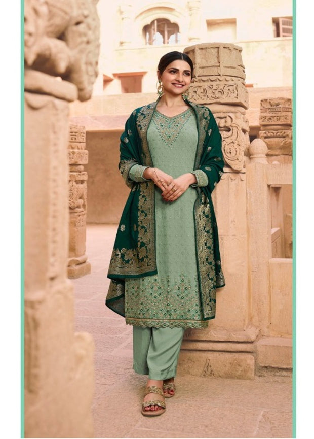 Green Embroidery Salwar Suit