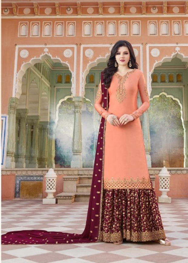 Peach And Red Partywear Sharara Suit