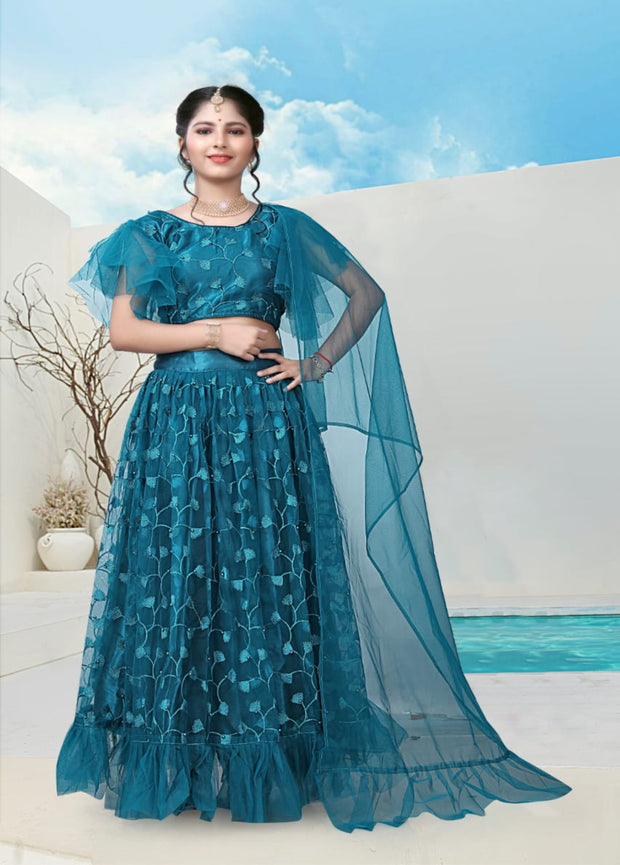 Sea Blue partywear lehenga choli
