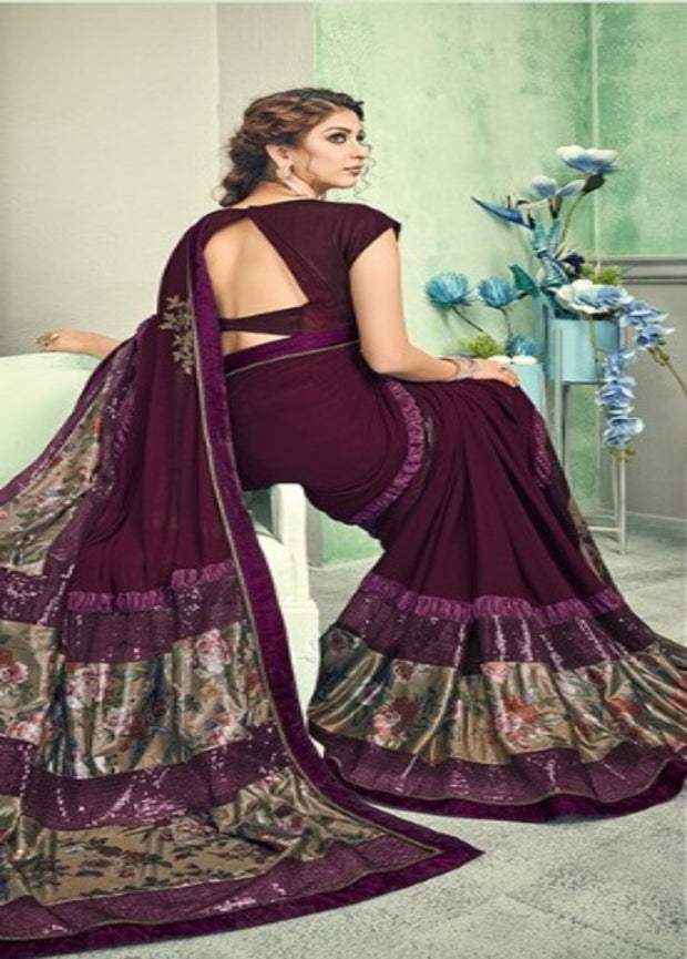 wine and gold lycra saree