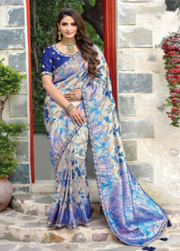 Blue designer party wear saree