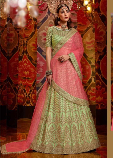 Parrot Green Heavy Embroidered Raw Silk Wedding Lehenga