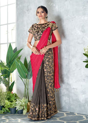 gray and red lehenga saree