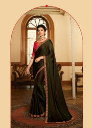 olive green georgette saree