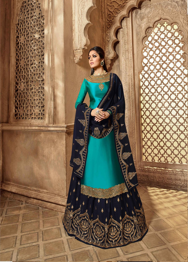 Party wear Designer Embroidery Sky Blue  Satin Georgette Salwar Suit