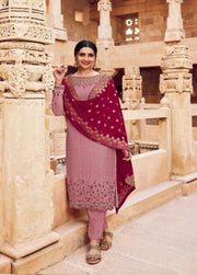 Wine Embroidery salwar suit