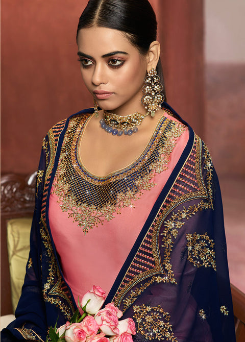 Pink and Blue partywear lehenga/Pant suit