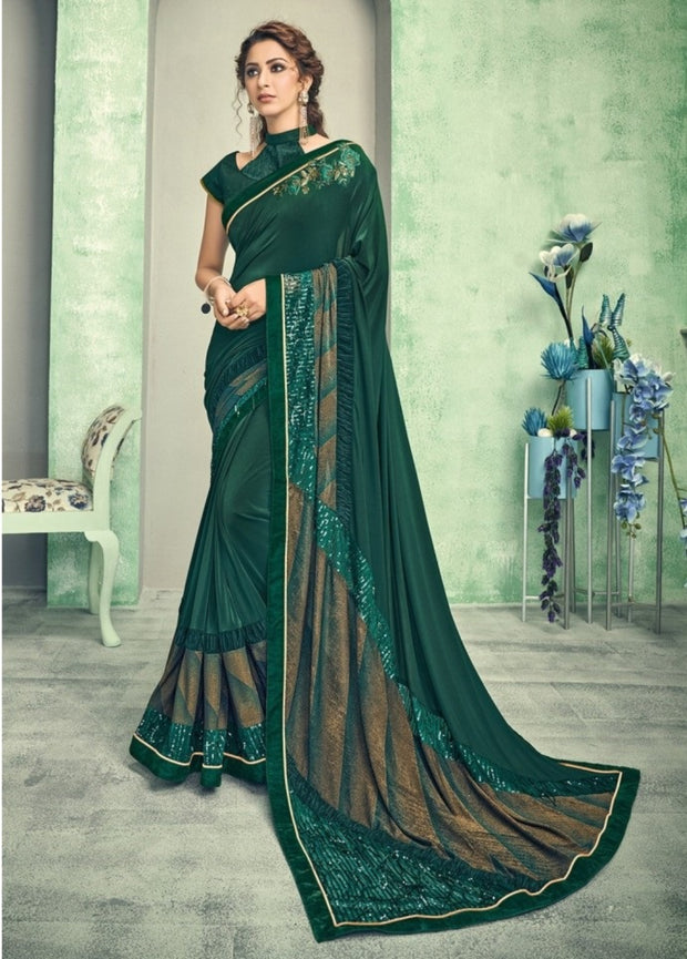 dark green and gold lycra saree