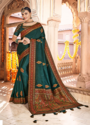 peacock green dola silk saree