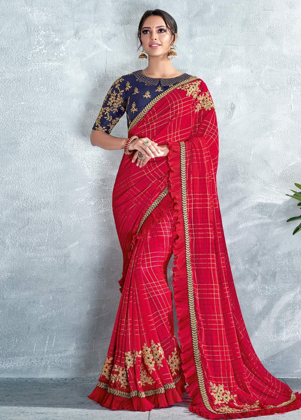 red silk georgette saree