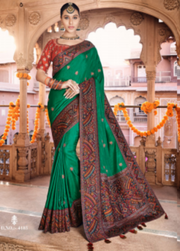 green  dola silk  saree