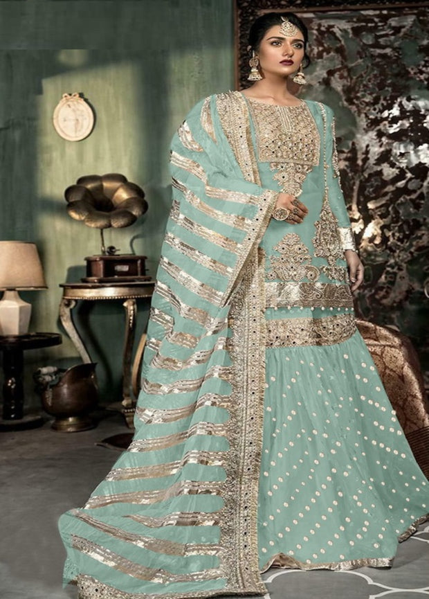 Mint Partywear Sharara Suit