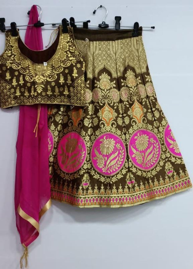 dark brown banarsi silk lehenga