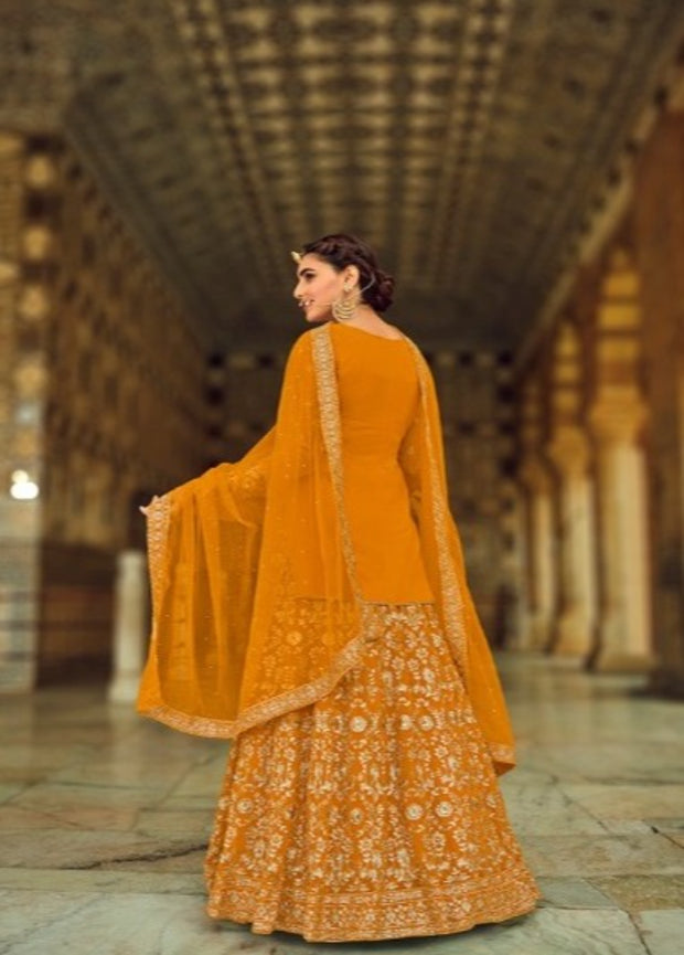 Mustard Yellow Partywear Long Blouse Lehenga