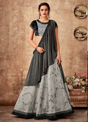 grey black fancy jacquard lehenga