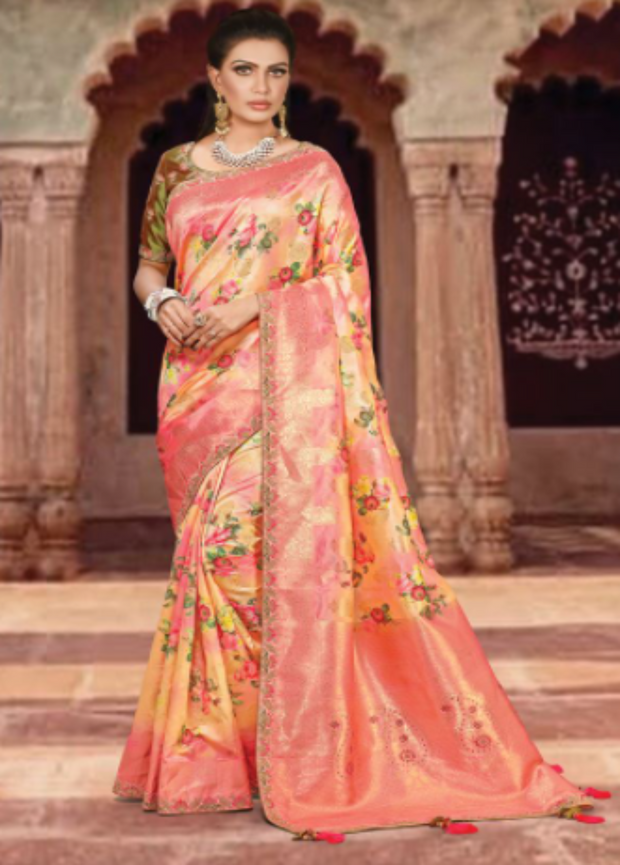 Orange designer party saree