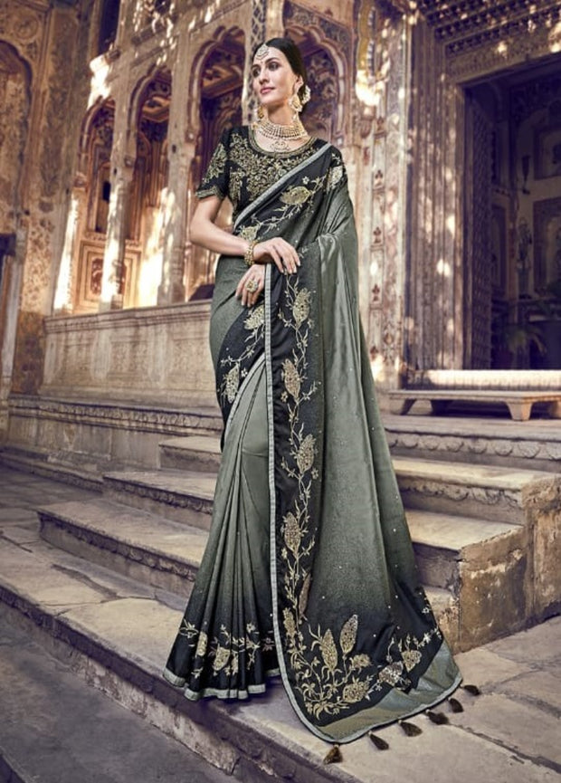 Black banarasi pure silk wedding saree