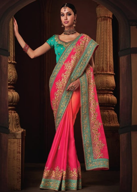 pink orange saree